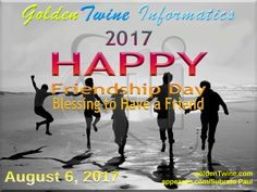 August 6 - National Friendship Day 2017.  Friendship Day is a day for celebrating friendship. Friendship Day celebrations occur on different dates in different countries. The first World Friendship Day was proposed for July 30 in 1958, by the World Friendship Crusade. On April 27, 2011 the General Assembly of the United Nations declared July 30 as official International Friendship Day. However, some countries, including India, celebrate Friendship Day on the first Sunday of August…