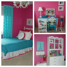 23 Beautiful Attic Bedroom Design Ideas for Girl in Turquoise Blue and Pink Colors6