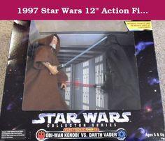 "1997 Star Wars 12"" Action Figure Collector Series - Electronic Power F/X Obi-Wan Kenobi vs. Darth Vader. 1997 Hasbro/Kenner Star Wars 12"" Collector Series Figure - Electronic Power F/X - Obi-Wan Kenobi vs. Darth Vader."