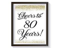 Cheers to 80 Years Birthday Sign Anniversary Gift 80th Birthday Party Decorations, 80th Birthday Cards, Cake Table Decorations, Gold Birthday Party, Gold Confetti, For Your Party, Anniversary Gifts, Cheers