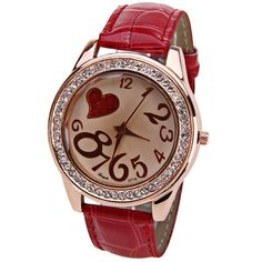Wholesale Gerryda Quartz Watch with 11 Numbers and Heart Shape Indicate Leather Watch Band for Women - Red (RED), Women's Watches - Rosewholesale.com