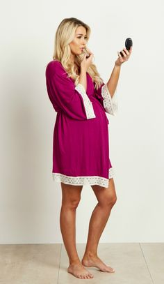 This solid delivery/nursing maternity robe will make sure your visit during and after the delivery is comfortable and stylish. This robe with a crochet detail will make you feel beautiful through all of motherhood's transitions. With the perfect pale hue, feminine design, and lightweight material, you can have a beautiful piece to keep cool in.