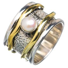 Spinner Ring Two Tone Pearl Spinner