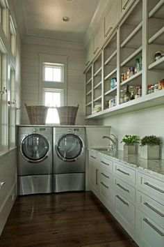 Browse laundry room ideas and decor inspiration. Discover designs for customized laundry rooms as well as closets, including utility room organization and storage Room Design, Laundry Mud Room, Kitchen Pantry, Grey Laundry Rooms, Pantry Laundry, Pantry Laundry Room, Home, Home Decor, Room