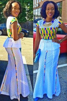 Lace and Ankara Style ~African fashion, Ankara, kitenge, African women dresses, African prints, Braids, Nigerian wedding, Ghanaian fashion, African wedding ~DKK