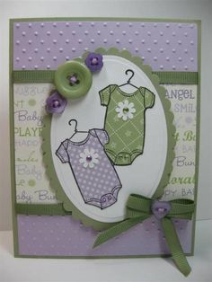 Sweet baby girl onesies in purple & green. Double bow. Pretty buttons. SU By Ones & By Twos, Nana's Nursery DSP  (Feb'13)