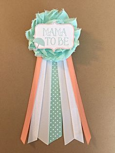 Mint Coral Baby Shower Mommy-to-be Flower Ribbon Pin Corsage umbrella Glitter Rhinestone mom to be mommy to be mama gender neutral by afalasca on Etsy https://www.etsy.com/listing/227995111/mint-coral-baby-shower-mommy-to-be