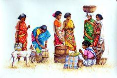 Sivabalan: Paintings by Sivabalan, Art . Indian Art Paintings, Cool Paintings, Om Namah Shivaya, Figure Painting, Figure Drawing, Human Figure Sketches, Art Village, Indian Village, Composition Painting