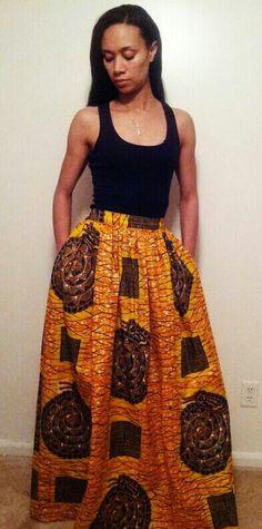 African print maxi skirt www.melangemode.etsy.com