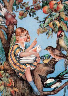 #illustration by Molly# Benatar #reading #read #books #book  #vintage #girl #bird #tree