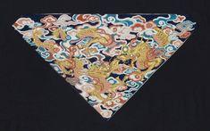 "yorkeantiquetextiles:  ""Buddhist altar cloth (uchishiki). Japanese, late Edo or Meiji era, 19th century.23 5/8 x 33 1/16 in. Bast fiber (hemp?) plain-weave ground, silk embroidery (shishû), gold metallic thread couching (koma-nui), glass. Triangular..."