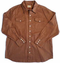 Mens Size XL C.E. Schmidt Workwear Brown Shirt, Pearl Snaps, Western Style VGC. $16.99