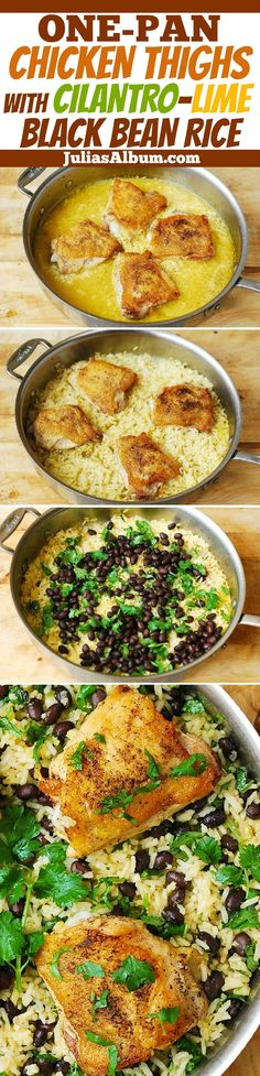 One-Pot Chicken Thighs with Cilantro-Lime Black Bean Rice - delicious, healthy, gluten free dinner! Made on stove-top, in one pot, no need to turn on the oven! https://mammahealth.com/gluten-free/