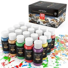 Arteza Outdoor Acrylic Paint, Set Of 20 Colors/Tubes Ml, 2 Oz.) With Storage Outdoor Acrylic Paint, Acrylic Paint Set, Acrylic Colors, Acrylic Paint Bottles, Acrylic Art, Artist Painting, Painting On Wood, Rock Painting, Desenhos Harry Potter