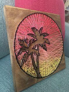 Cadena al atardecer arte tropical palmera cadena arte