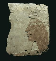 Fragment, limestone raised relief of Queen [Pharaoh] Hatshepsut from her mortuary temple, ca. 1460 B.C.; 32.7 x 25.4 cm; Private collection.
