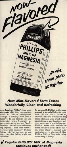 Chas. H. Phillips Chemical Co.'s Milk of Magnesia – New Mint-Flavored Form Tastes Wonderfully Clean and Refreshing (1958)