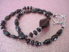 Garnet and Swarovski Crystal Pendant by mdeja on Etsy, $148.00