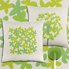 Inspiration GREEN! for AGAPANTHUS and LITTLE FLOWER pillows, printed on 55% linen/45% cotton fabric.