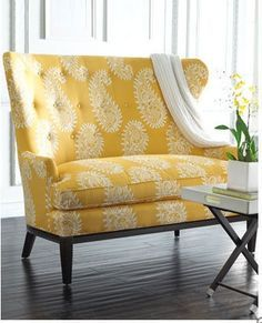 Loveseats & Settees: Small Space Solutions Maybe a small love seat for our living room! Yellow Accent Chairs, Yellow Couch, Yellow Armchair, Yellow Accents, Gray Sofa, Modern Armchair, Wood Accents, Modern Sofa, Refurbished Furniture
