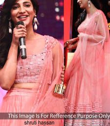 Pink net embroidered unstitched bollywood-lehengas Shop Online