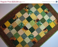 ON SALE NOW Green and Yellow Scrappy Table Topper by VillageQuilts, $21.25
