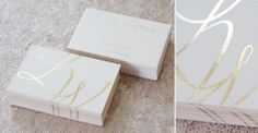 Gold foil business cards on gorgeous V540gsm Vellum White Colorplan stock. Swooooonnnn.