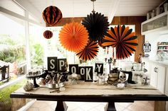 More sophisticated Halloween decore (Halloween Party Decor via Dear Lizzy)