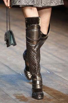 Dolce & Gabbana Fall 2014 RTW - Runway Photos - Fashion Week - Runway, Fashion Shows and Collections - Vogue. Estilo Punk Rock, Fashion Week, Fashion Show, Womens Fashion, Milan Fashion, Runway Fashion, Dolce & Gabbana, Armor Boots, Punk Rock Fashion