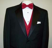 my lovey will wear, black tux, red bowtie. black shoes. and a white flower