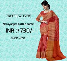 Light Maroon Striped Narayanpet Powerloom Cotton Saree with Blouse Product code: GSSGD9C047 Retail price: 811/- Sale price : 730/-