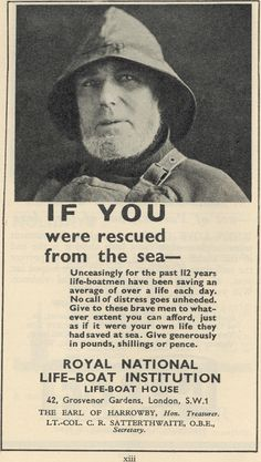 Advertisement for the RNLI (Royal National Lifeboat Institute) from 1936.