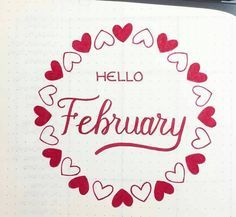 This circle heart wreath is a very easy way to add some decoration to your bullet journal this February. February Bullet Journal, Bullet Journal Notebook, Bullet Journal Spread, Bullet Journal Ideas Pages, Bullet Journal Layout, Bullet Journal Inspiration, Bullet Journals, Doodles, February Month