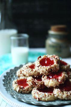 Strawberry Almond Thumbprint Cookies