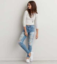 5b23963e41030 AEO Denim X Hi-Rise Jegging Distressed Denim Jeans