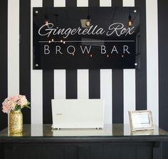 Love the theme in our Gingerella Rox Brow Bar #perth #oz #brows #browartist #semipermanent #brow #tattoos #makeovers #browgame #monochrome #blackwhite #salon