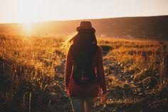 Woman Walk Field Sunset Farm