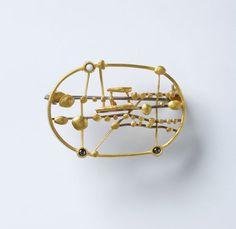 Hermann Jünger. Brooch: Untitled, 1977. Silver, gold enamel, hematite.