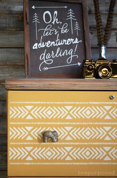 An old filing cabinet gets an Arles and Aztec makeover using Annie Sloan Chalk Paint and a fun aztec inspired stencil with fun elephant knobs! Diy Home Furniture, Furniture Projects, Furniture Makeover, Painted Furniture, Resale Furniture, Furniture Design, Dresser Makeovers, Furniture Vintage, Industrial Furniture