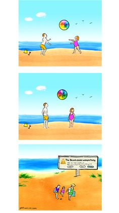 Beach Closing, pbfcomics. (Don't you hate it when that happens...)