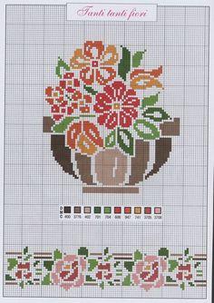 Gráficos Ponto Cruz e Artesanato: Flores