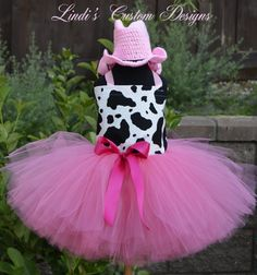Pink Cowgirl Double Poof Tulle Tutu Costume with Hand Crochet Cowgirl Hat for babies & toddlers up to 5T