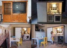Entertainment center into play kitchen another one turn your old entertainment center into a kids play . entertainment center into play kitchen Diy Kids Kitchen, Play Kitchen Sets, Little Kitchen, Play Kitchens, Childs Kitchen, Toy Kitchen, Mini Kitchen, Kitchen Corner, Kitchen Playsets