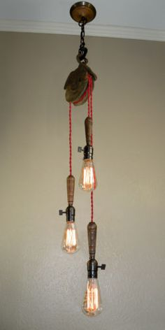 Vintage-INDUSTRIAL-Three-Light-HAND-LAMP-Pendant-with-REPURPOSED-PULLEY