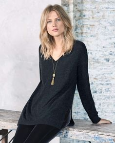 Irma cashmere sweater - A lovely, fine knit pure cashmere jumper, longer length with a relaxed fit. With a soft v-neckline and full-length sleeves in a larger ribbed stitch pattern finished with turned back cuffs. 100% Cashmere.