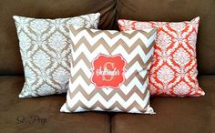 CUSTOM PERSONALIZED Monogrammed Throw Pillows - DECORATIVE Pillows - Monogrammed Gift on Etsy, $32.00