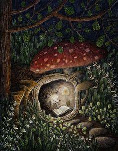 En el bosque, calentito y leyendo (ilustración de Deborah Hocking)