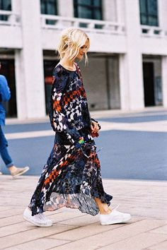 Dress down a printed maxi dress with a pair of trainers.