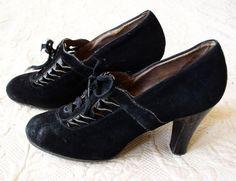 Vintage Black Suede Lace-Up Heels Lady Miner Footwear #Heels