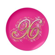Gold & Diamonds - Elegant and Pink Plate with Your Initial ''X''.